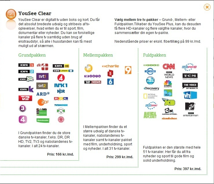 priser på yousee tv